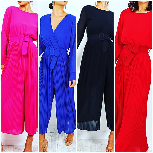 Pleated reversible jumpsuit