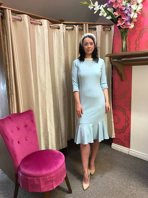 Powder blue and pearl dress