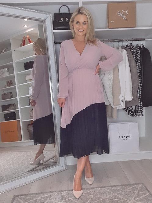 Colour block pleat dress