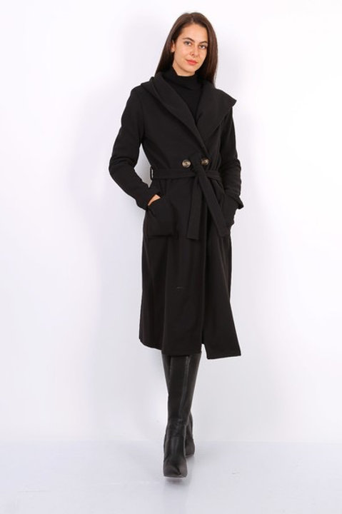 Black belted coat with hood