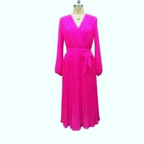 Fuscia pleat dress one size