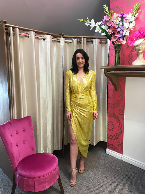 Canary sequin wrap dress with long sleeve and slit