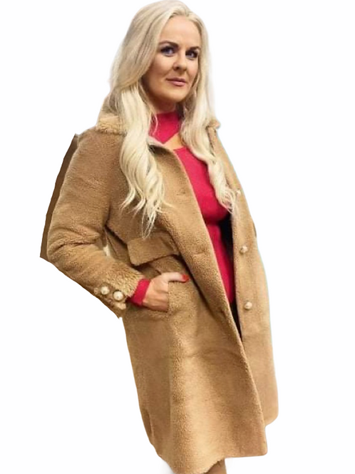 Shearling Camel Teddy Coat with pearls