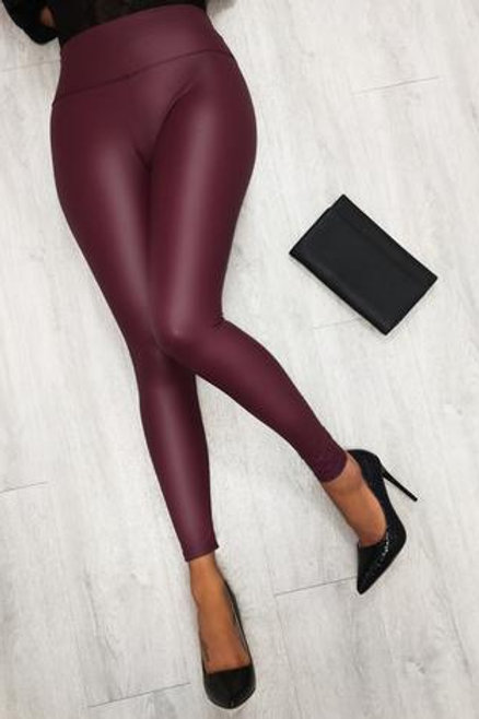 Wine leatherette pants