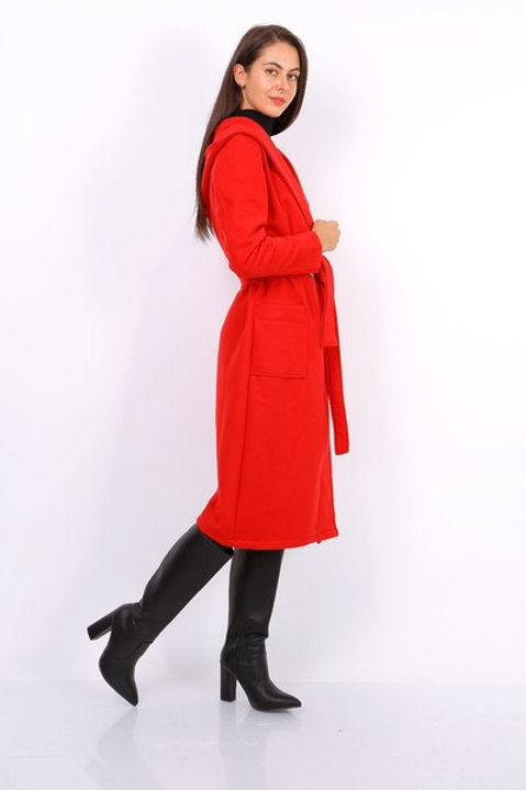 Red hooded coat with belt