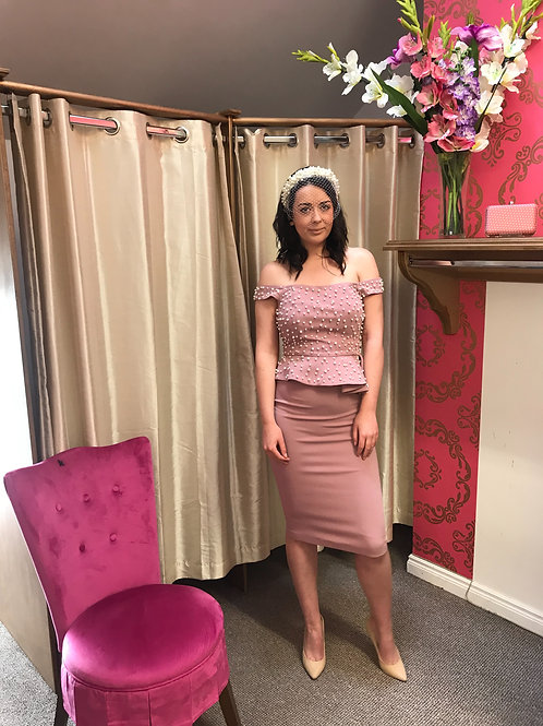 Mauve pearl and peplum 2 piece set