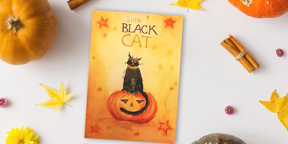 Акварельная открытка на Хэллоуин