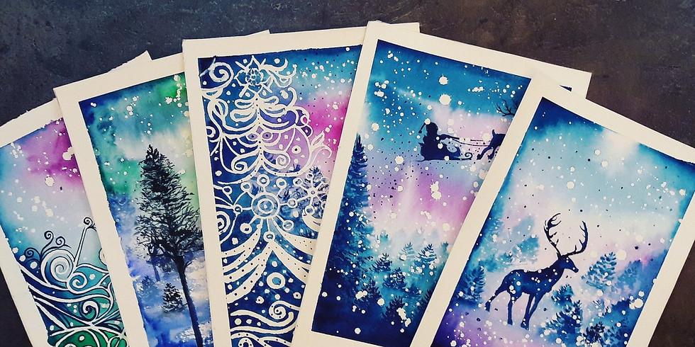 Новогодние открытки акварелью
