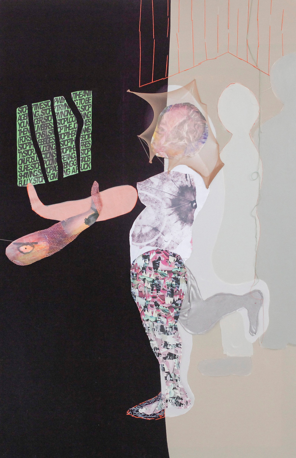 Susan Patterson. Woman collaged in fabric on stretched canvas with paint. Mixed Media