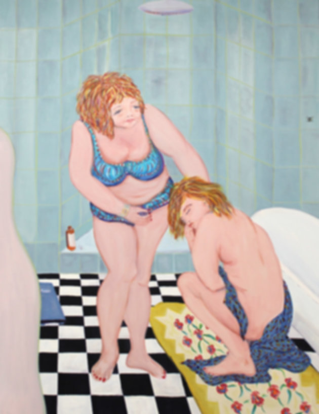 acrylic, painting, bathroom, feminist art, colour, glasgow artist, female painter