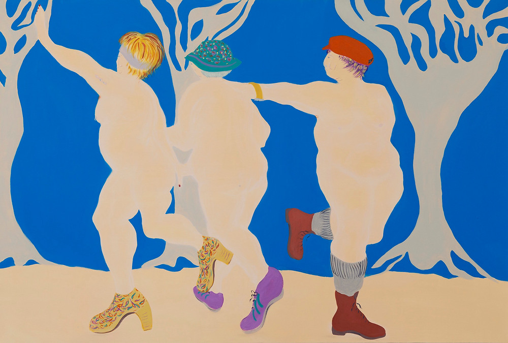 The Three Graces, Painting, Siusan Patterson, Acrylic Painter, Glasgow, Artist, Doc Martins, figurative painting