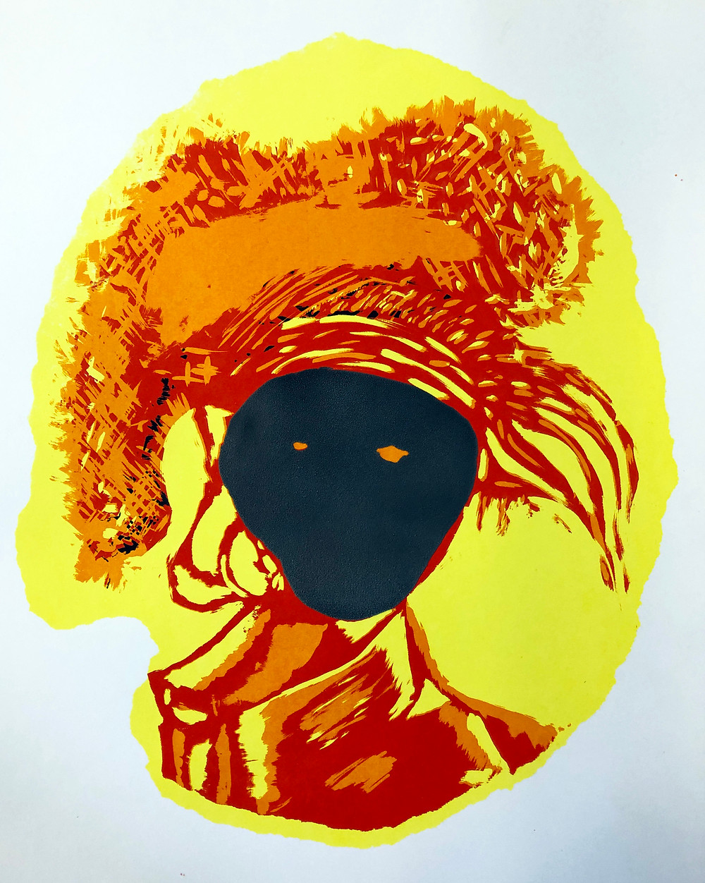 Siusan Patterson - Muta Mask.  Artist Proof Screen Print with Puffer Ink was worn by women in the 17th century to subvert the male gaze.