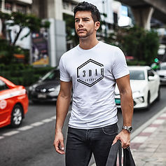 L3dah london front print white tshirts model shot.jpg