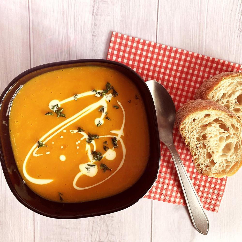Rezept für Kürbis-Süsskartoffel-Suppe