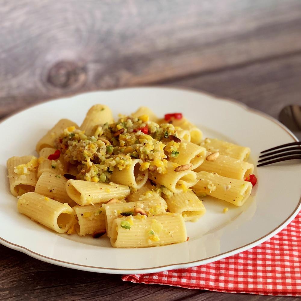 Rezept für Pasta mit Zucchini-Pesto