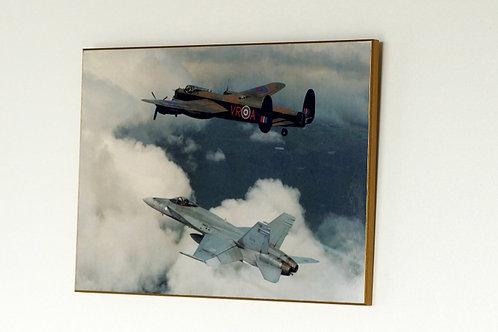 Avro Lancaster with F-18 Hornet (Plaque)