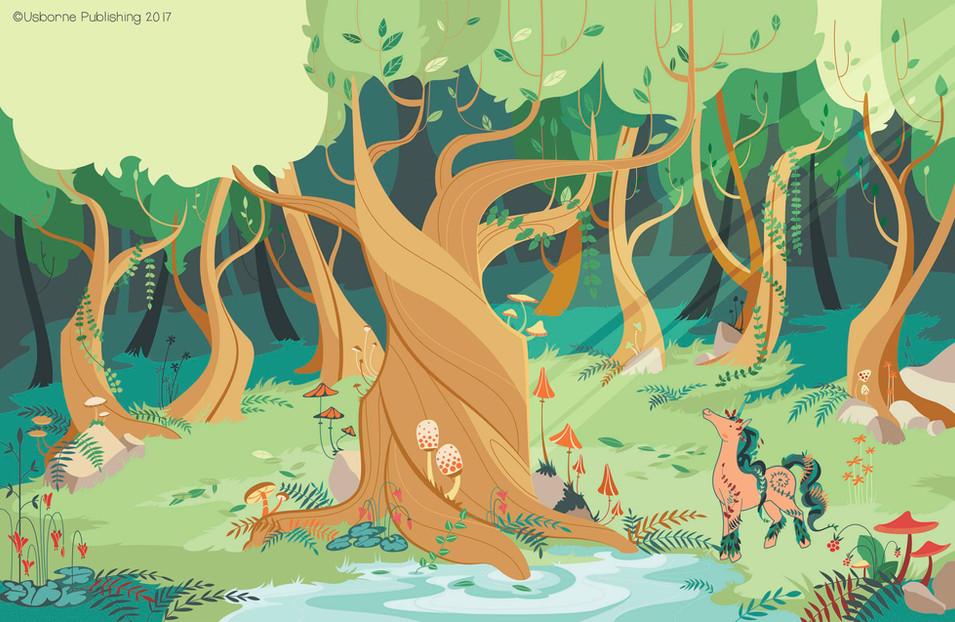 Magic forest unicorns, background