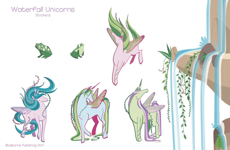 Waterfall unicorns, stickers