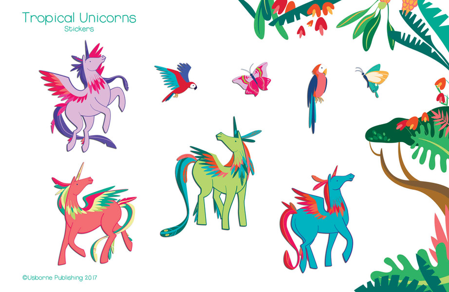 Tropical forest unicorns, stickers