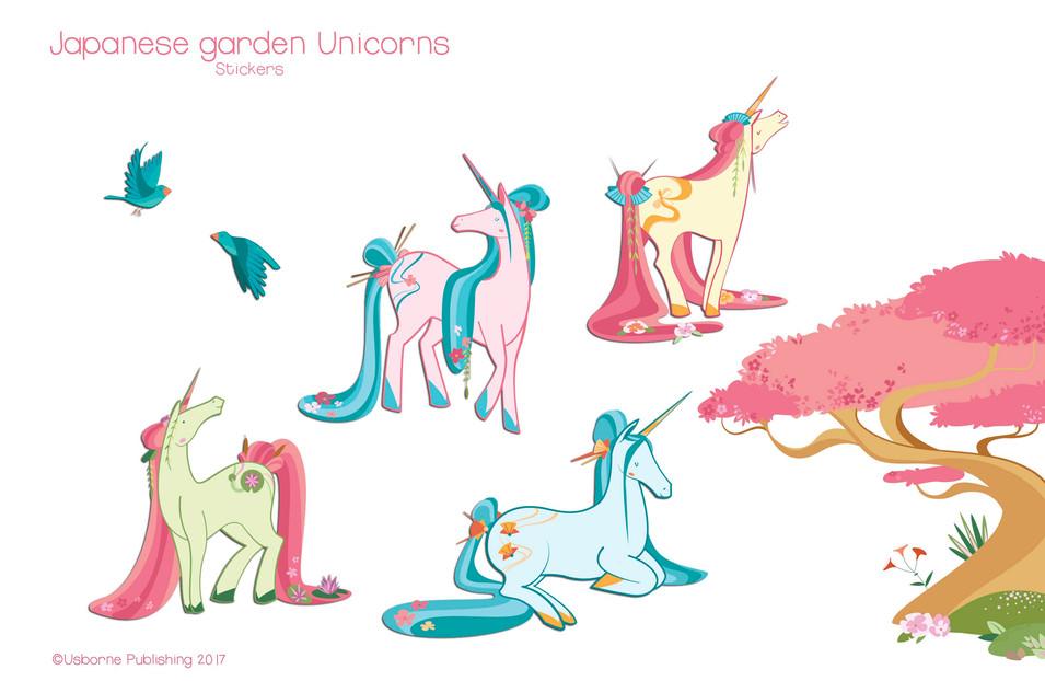 Japanese unicorns, stickers