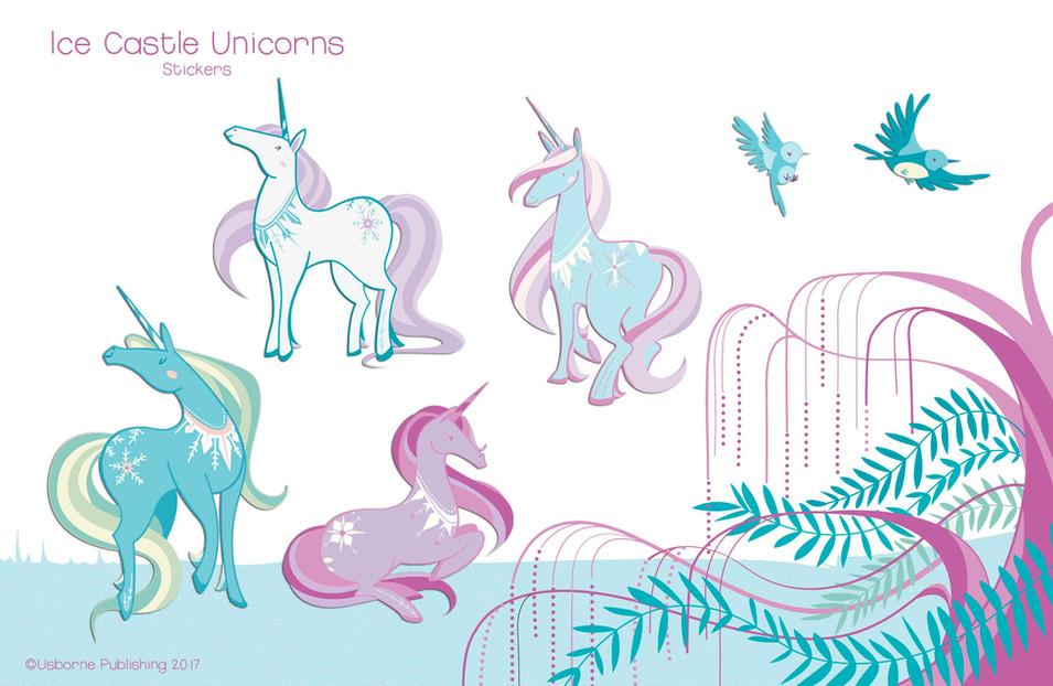 Ice castle unicorns, stickers