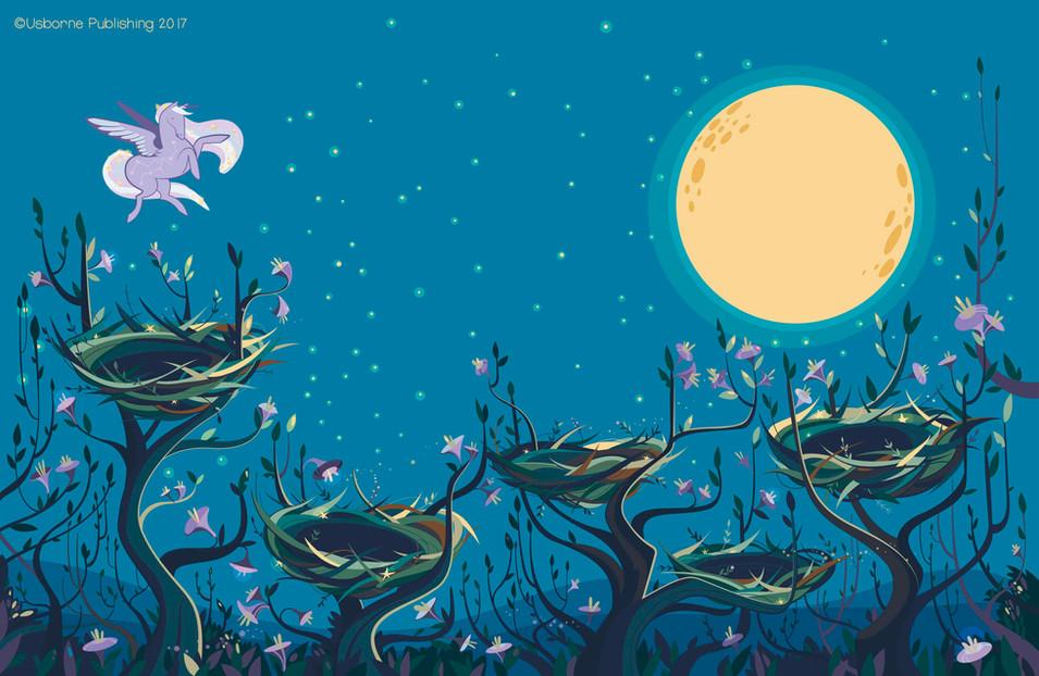 Starry night unicorns, background