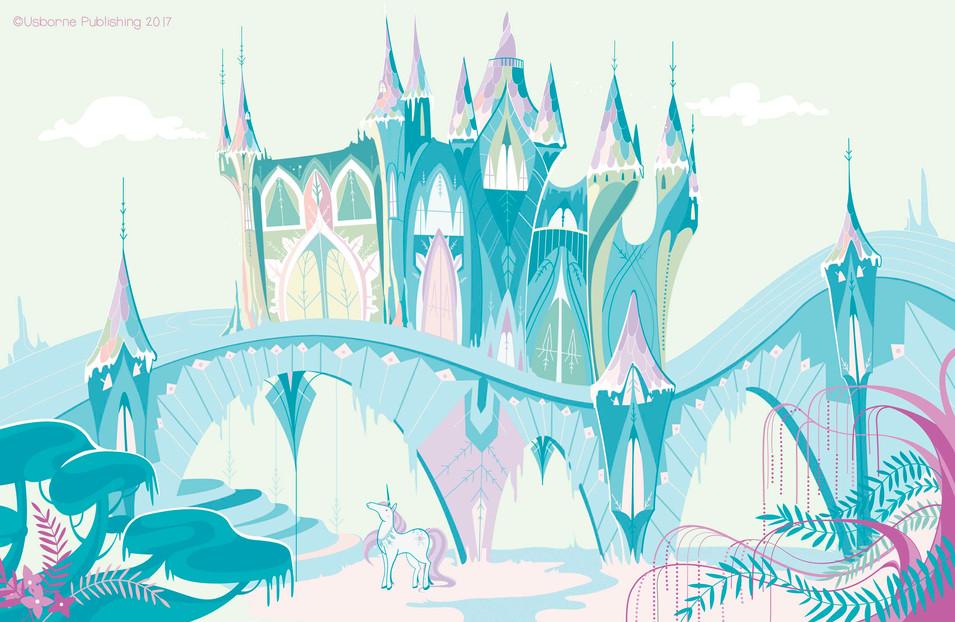 Ice castle unicorns, background