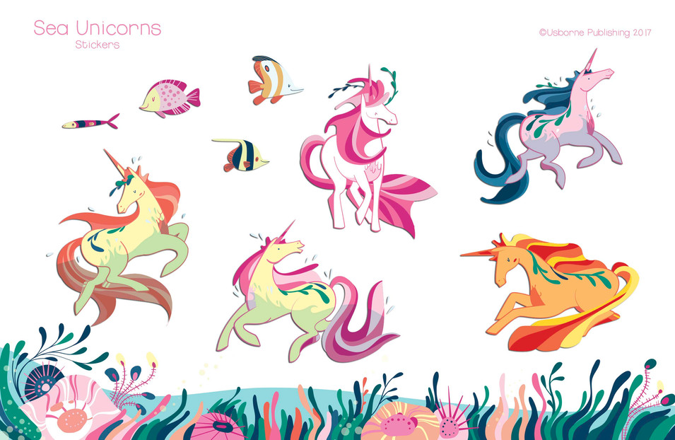 Deep sea unicorns, stickers