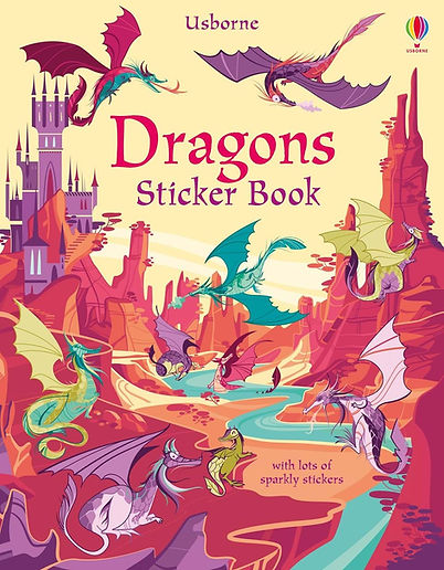 Cover for a stickers children book about dragons