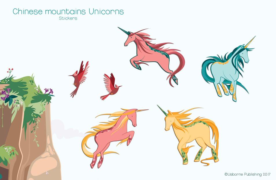 Chinese mountains unicorns, stickers