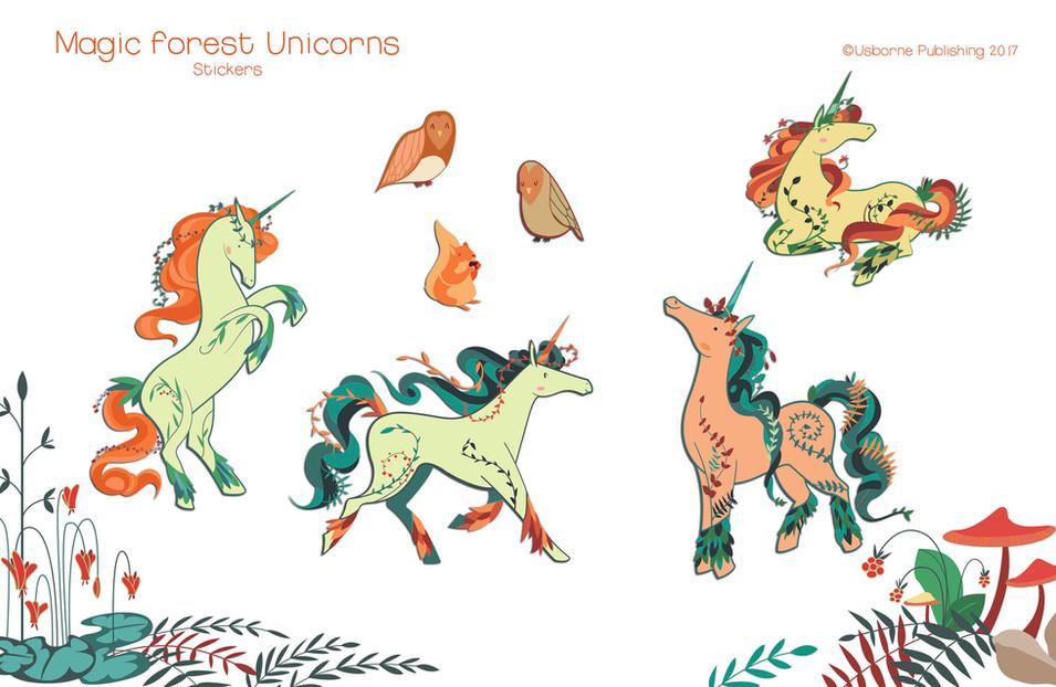 Magic forest unicorns, stickers