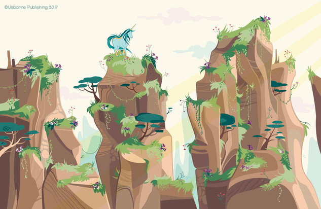 Chinese mountains unicorns, background