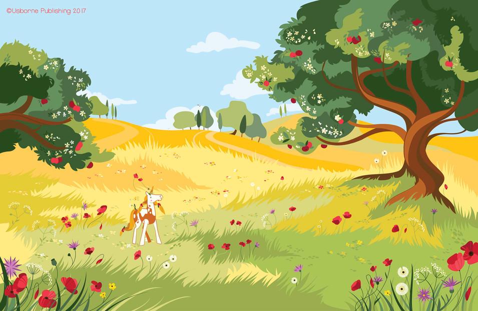 Countryside unicorns, background