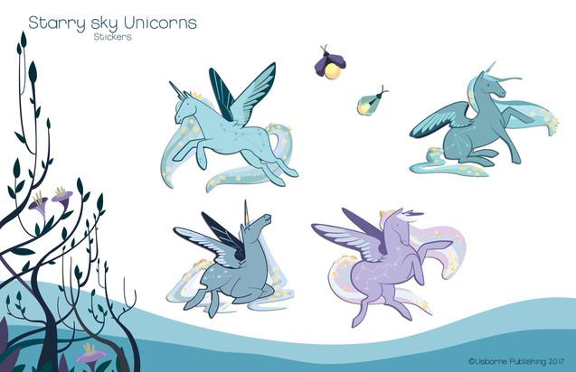 Starry night unicorns, stickers