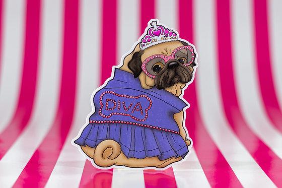 Diva Pug (Die Cut Sticker)