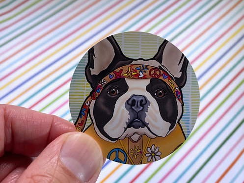 Hippie Frenchie (Round Sticker)