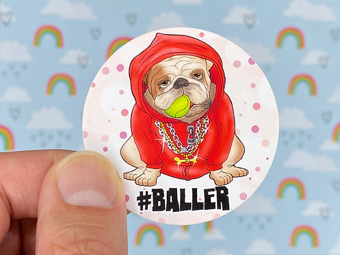 #baller Red (Round Sticker)
