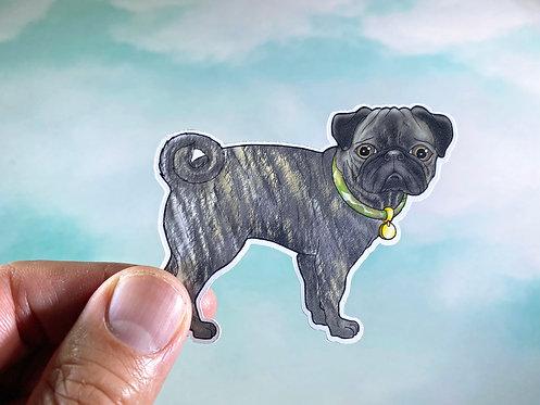 Brindle Pug (Die Cut Sticker)