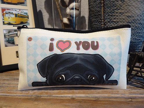 I <3 You - Black Pug (7.5in x 4.5in)