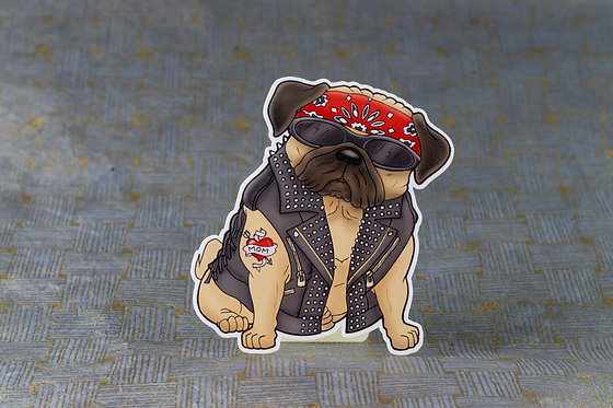 Biker Pug (Die Cut Sticker)