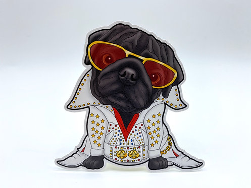 Elvis Pug w/Sunglasses (Die Cut Sticker)