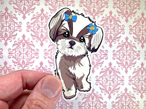 Shih Tzu in Pigtails (Die Cut Sticker)