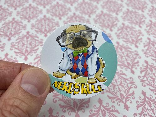 Nerds Rule Pug (Round Sticker)