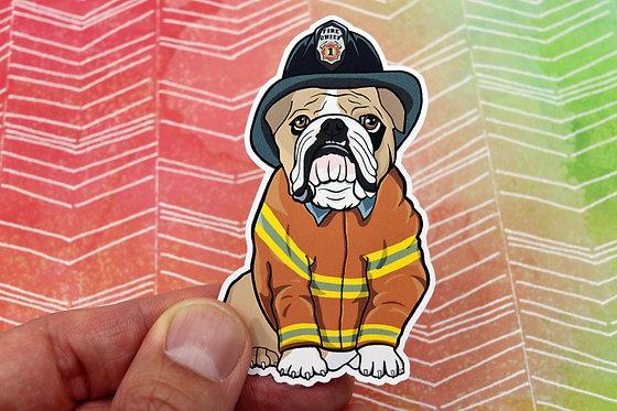 Bulldog Firefighter (Die Cut Sticker)