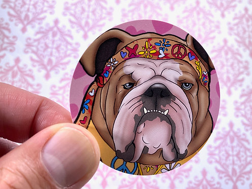 Hippie Bulldog (Round Sticker)