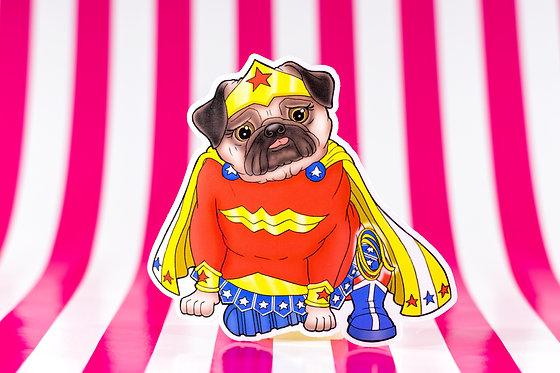 Wonder Pug (Die Cut Sticker)