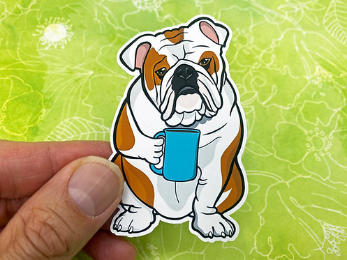 Coffee Bulldog (Die Cut Sticker)