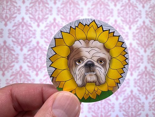 Sunflower Bulldog (Round Sticker)