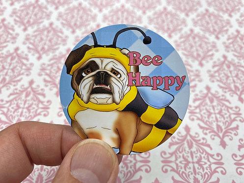 Bee Happy (Round Sticker)