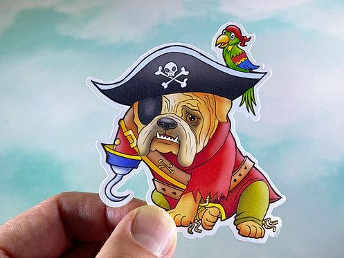 Pirate Bulldog (Die Cut Sticker)